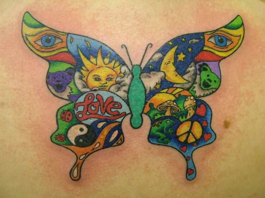 borboleta psicodelica tattoo