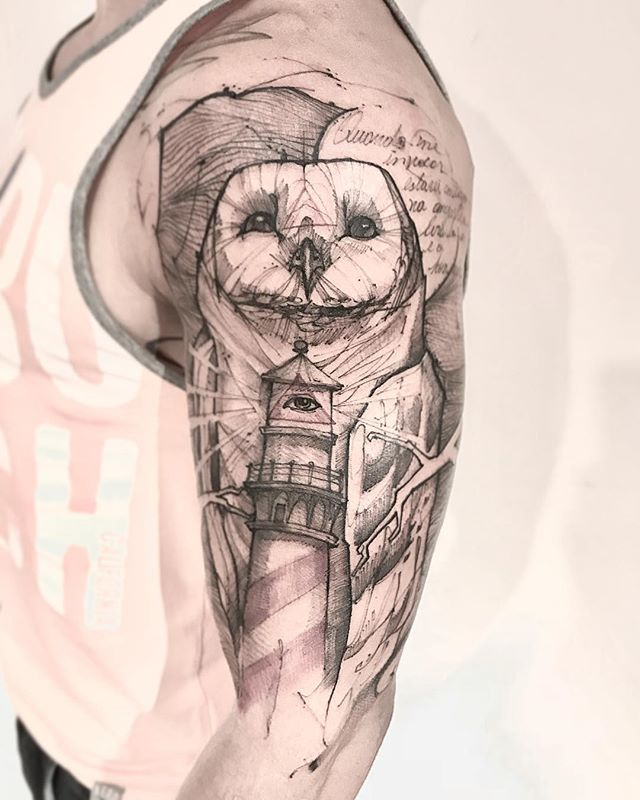 coruja sabedoria tatuagem
